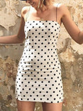 White Spaghetti Strap Polka Dot Mini Dress