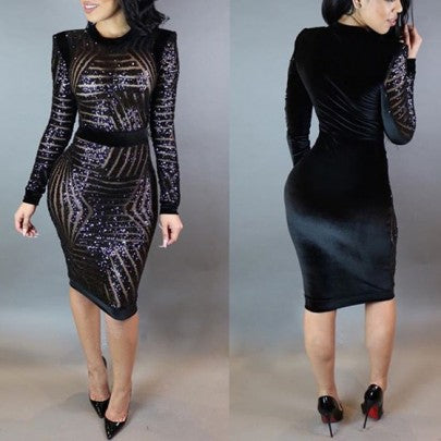 Black Patchwork Sequin Grenadine Splicing See-through Bodycon Club Party Midi Dress