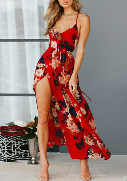 Red Backless Cross Back Draped Side Slit Spaghetti Strap Lace-up Bohemian Maxi Dress