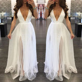 White Grenadine Double Slit Spaghetti Strap Cross Back Party Maxi Dress