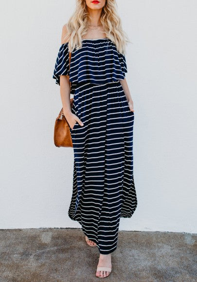 Black Striped Ruffle Draped Slit Off Shoulder Backless Casual Going out Maxi Dress