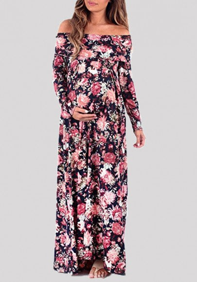 Purple Floral Print Draped Off Shoulder Backless Maternity Maxi Dress