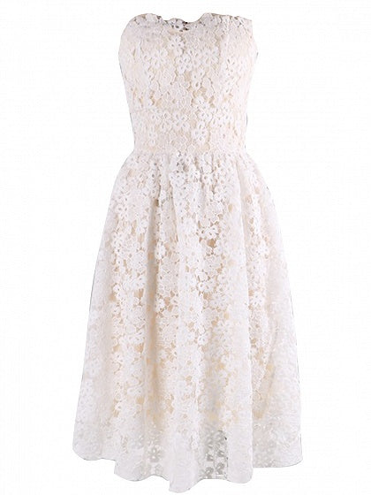White Bandeau Lace Mini Dress
