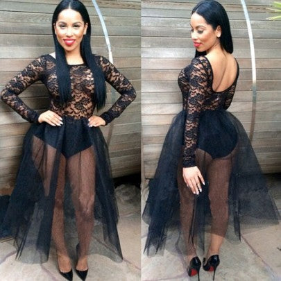 Black Lace Pleated Grenadine Long Sleeve Bodysuit Fluffy Fashion Backless See-through Prom Gowns Party Maxi Dress