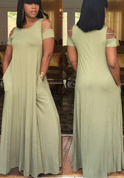 Olive Draped Cut Out Pockets Round Neck Short Sleeve Casual Maxi Dress