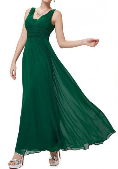 Green Plain Draped V-neck Elegant Chiffon Maxi Dress