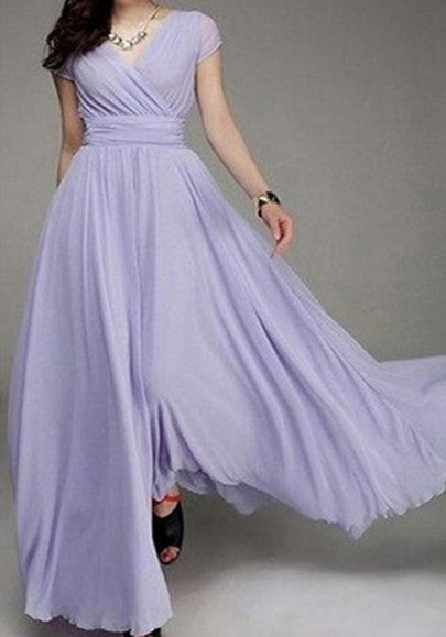 Porpora Pleated Double-deck Bohemian Short Sleeve Elegant Maxi Dress