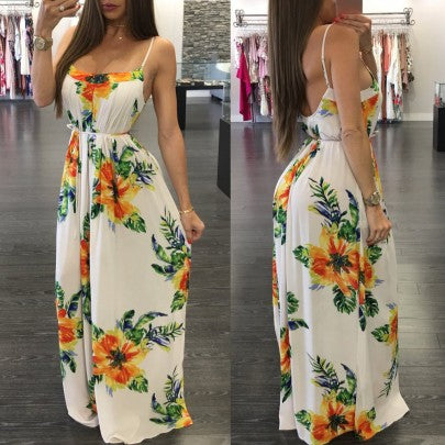 Yellow Flowers Print Sashes Backless Spaghetti Strap Bohemian Maxi Dress