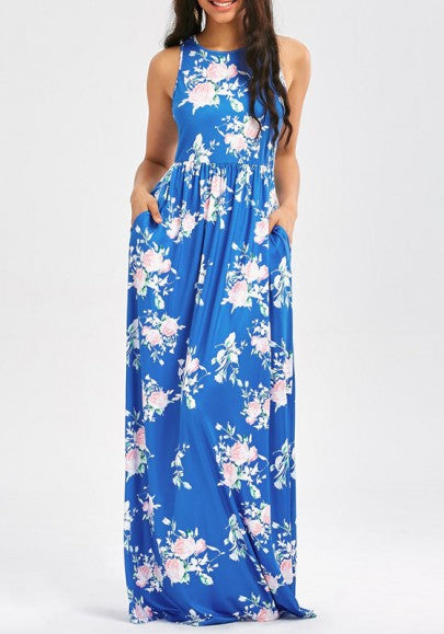 Royal Blue Floral Pockets Pleated Plus Size Sleeveless Bohemian Beach Maxi Dress