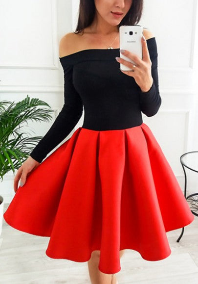 Red Patchwork Off Shoulder Pleated Two Piece Tutu Skater Cute Party Mini Dress