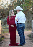 Burgundy Draped Off Shoulder Backless Multi Way Maternity Photoshoot Elegant Maxi Dress