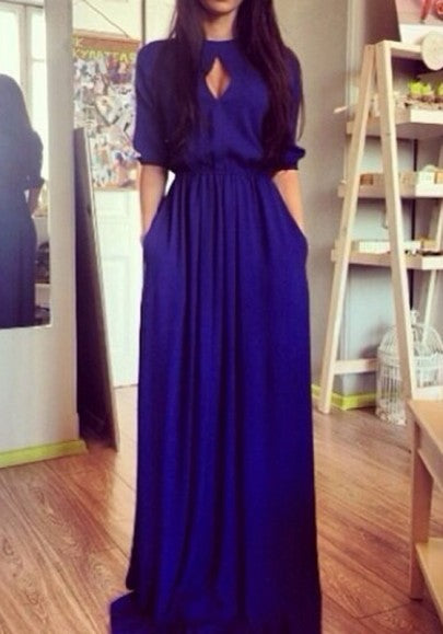 Blue Cut Out Draped Round Neck Elbow Sleeve Casual Maxi Dress