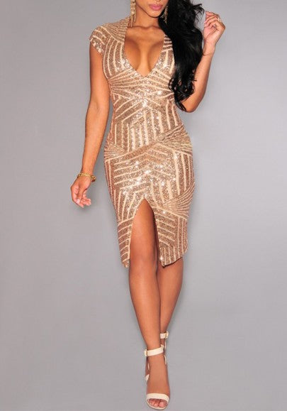 Golden Plain Striped Sequin Splicing Irregular Front Slit Plunging Neckline Bodycon Party Midi Dress