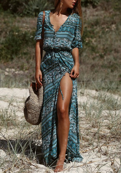 Blue Floral Single Breasted Drawstring Boho Thigh High Side Slits Maxi Dress