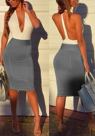 Grey Patchwork Backless Plunging Neckline Midi Dress