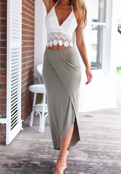 White-Grey Crop Irregular Backless 2-in-1 Lace Dress