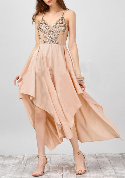 Light Pink Sequin Draped Irregular Spaghetti Strap Backless V-neck Flowy Party Maxi Dress