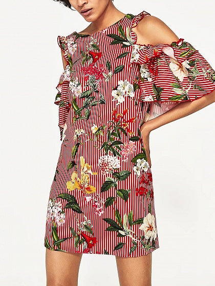 Polychrome Stripe Floral Cold Shoulder Ruffle V-neck Back Mini Dress