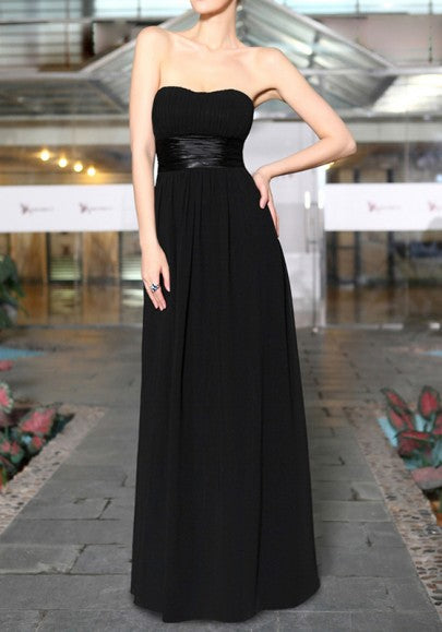 Black Pleated Bandeau Zipper Backless Bridesmaid Chiffon Maxi Dress