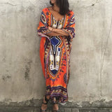 Orange Tribal Floral Print Irregular Half Sleeve Oversized Vintage Maxi Dress