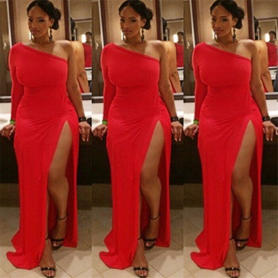 Red Irregular Off Shouder Thigh High Side Slits Plus Size One-Shoulder Abendkleid Party Maxi Dress