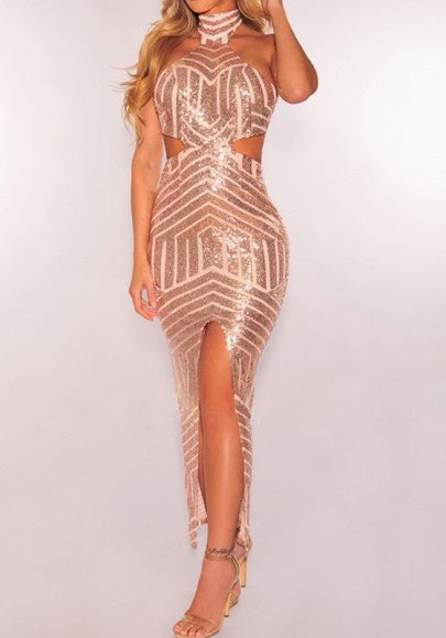 Geometric Sequin Halter Neck Cut Out Slit Birthday Homecoming Party Maxi Dress
