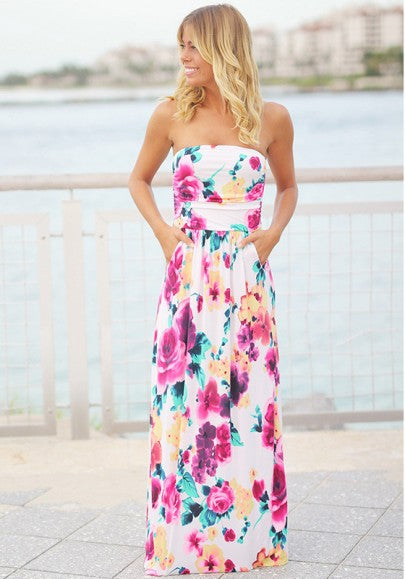 White Floral Bandeau Print Fashion Maxi Dress