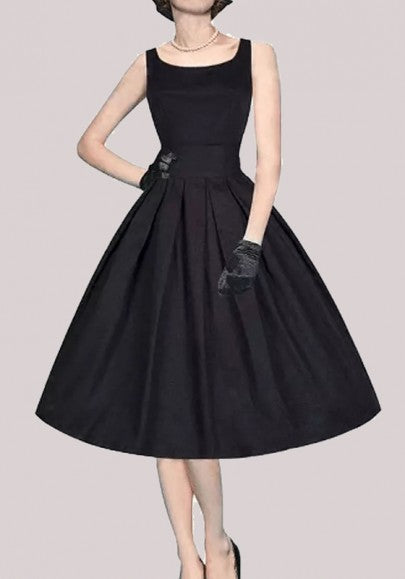 Black Pleated Round Neck Sleeveless Vintage Homecoming Midi Dress