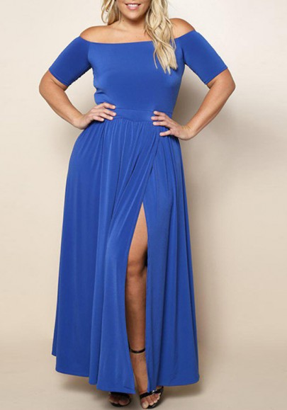 Blue Draped Bandeau High Slit Off Shoulder Plus Size Party Maxi Dress