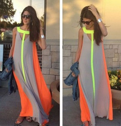 Grey Patchwork Color Block False 2-in-1 Boho Round Neck Evening Cocktail Party Bohemian Maxi Dress