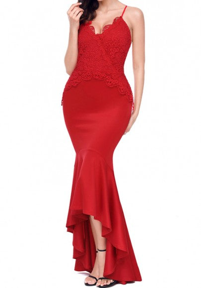 Red Lace Backless Cross Back Spaghetti Strap Trumpet V-neck Maxi Dress