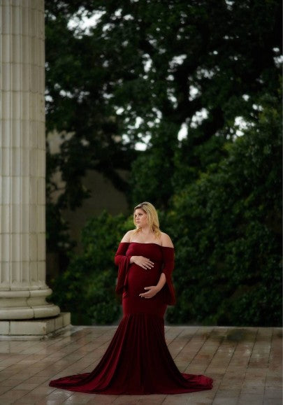 Burgundy Draped Off Shoulder Mermaid Big Swing Bell Sleeve Maternity Maxi Dress