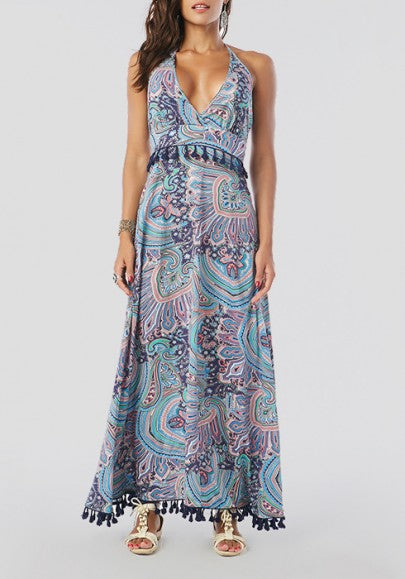 Multicolor Bohemian Floral Print Backless Tassel V-neck Sleeveless Summer Beach Maxi Dress