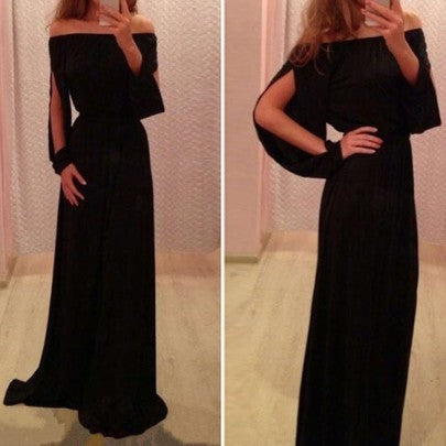 Black Off The Shoulder Split Sleeve Floor Length Chiffon Ball Gown Maxi Dress
