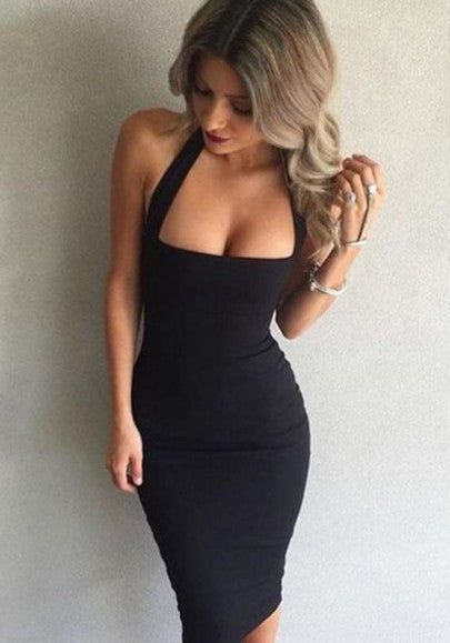 Black Halter Neck Backless Sleeveless Slim Prom Evening Party Bodycon Midi Dress