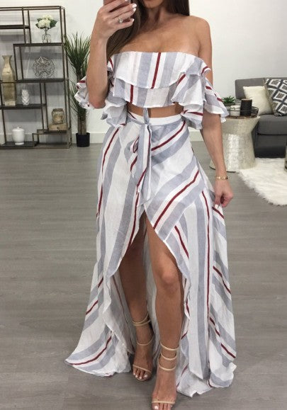 Light Grey Striped Irregular 2-in-1 Ruffle Sashes Boat Neck Short Sleeve Maxi Dress