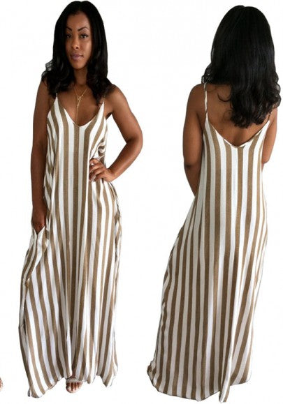 White-Coffee Striped Draped Backless V-neck Spaghetti Strap Oversize Casual Maxi Dress