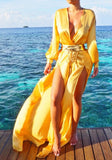 Yellow Draped Double Slit Deep V-neck Lantern Sleeve Maxi Dress