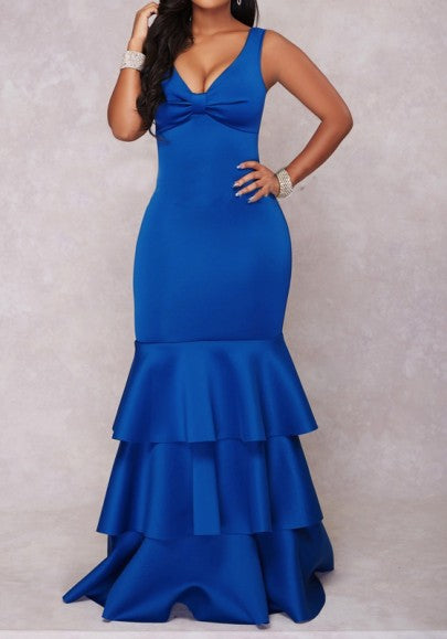 Blue Ruffle Bow Mermaid Bodycon V-neck Elegant Banquet Party Maxi Dress