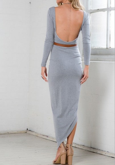 Grey Plain Irregular Round Neck Fashion Maxi Dress