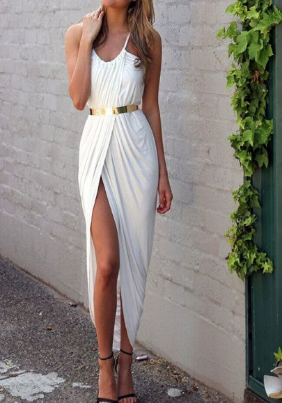 White Plain Spaghetti Straps Belt Irregular Slit Casual Ruched Maxi Dress