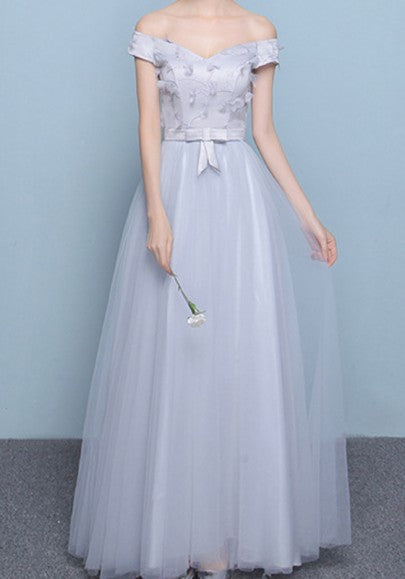 Grey Pleated Appliques Bow Lace-up Off Shoulder Boat Neck Bridesmaid Maxi Dress