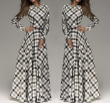 White Plaid Pleated Belt Long Sleeve Maxi Dress
