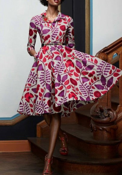 Purple Floral Print African Attire High Waisted 3/4 Sleeve Tutu Party Midi Dress