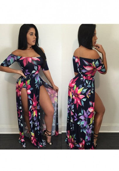 Multicolor Bohemian Floral Irregular Slits Off-shoulder Plus Size Boho Romper With Maxi Overlay