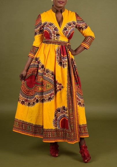 Yellow Floral Tribal Print Dashiki Bohemian Irregular Slits V-neck Boho Maxi Dress
