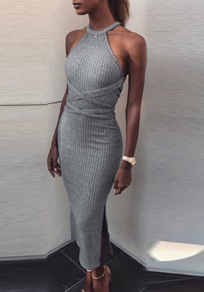 Grey Cut Out Cross Back Bandage Side Slit Halter Neck Midi Dress