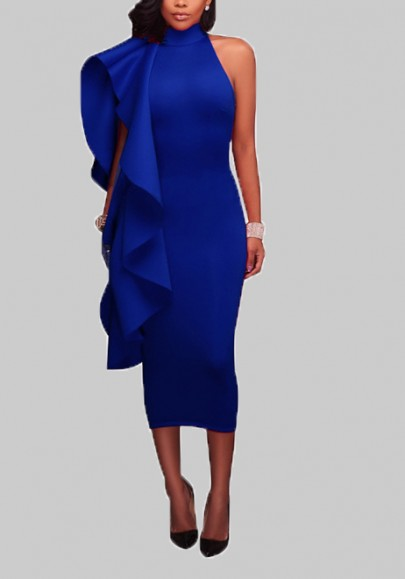 Royal Blue Ruffle Asymmetric Shoulder Band Collar Banquet Bodycon Elegant Midi Dress