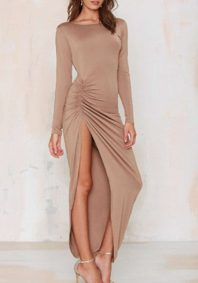 Camel Irregular Backless Round Neck Long Sleeve Maxi Dress