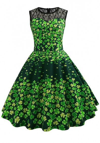 Green Patchwork Lace Shamrock Pattern Pleated Skater Tutu St. Patrick's Day Party Midi Dress